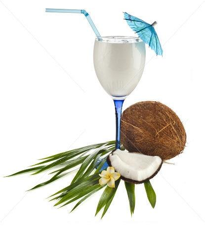 Stock photo coconut drink cocktail and coconut isolated on white