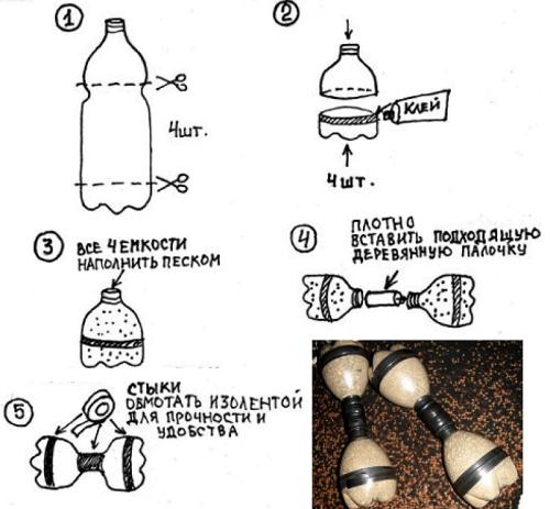 Гантели из бутылки и изоленты