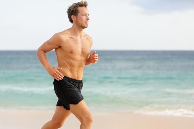 Sport man running. Male athlete runner jogging shirtless trainin