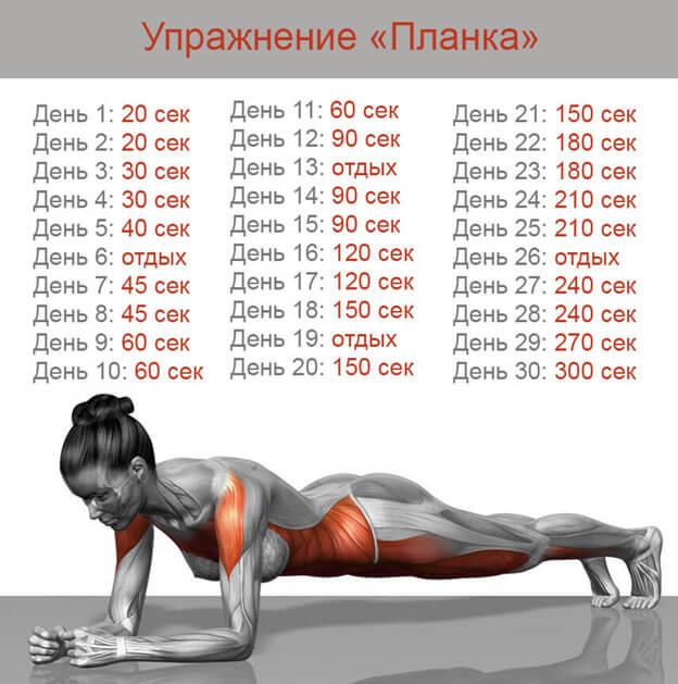 Планка упражнение для похудения фото.