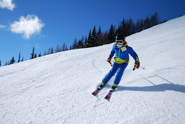 Снег, лыжник